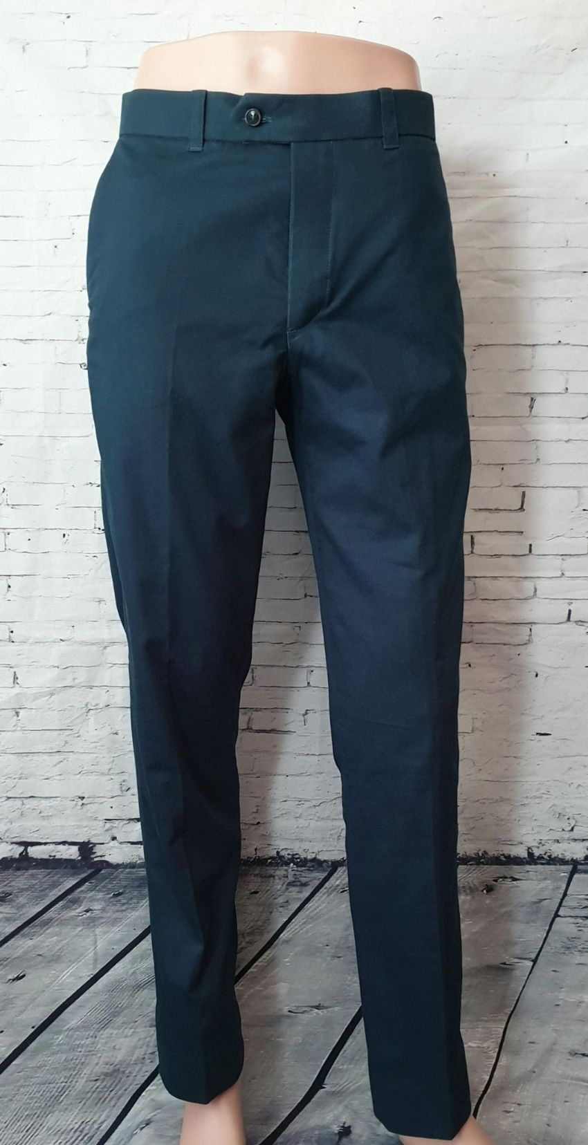 Petrol Blue Sta Press Trousers The Crown Jester Sta Press Trouser Classic styling in a petrol blue cotton 100 Cotton Side pockets Two back pockets Fitted with rubber shirt